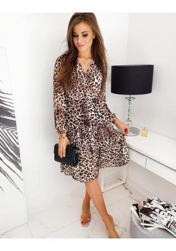 Dámské módní šaty s leopardím vzorem v hnědé barvě