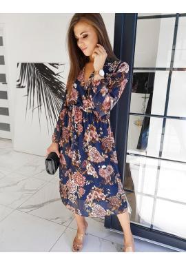 Květované dámské šaty tmavě modré barvy s páskem