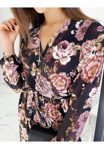 Dámské květované šaty s páskem v černé barvě