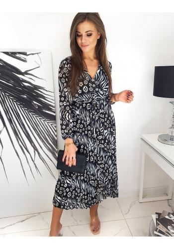 Dámské dlouhé šaty se vzorem v černé barvě