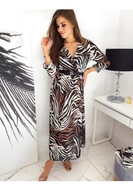Černé dlouhé šaty se vzorem pro dámy