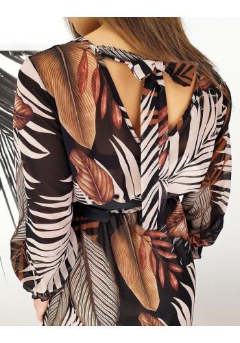 Dlouhé dámské šaty hnědo-černé barvy se vzorem