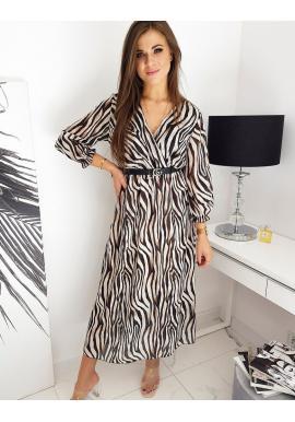Dámské dlouhé šaty se vzorem v béžové barvě