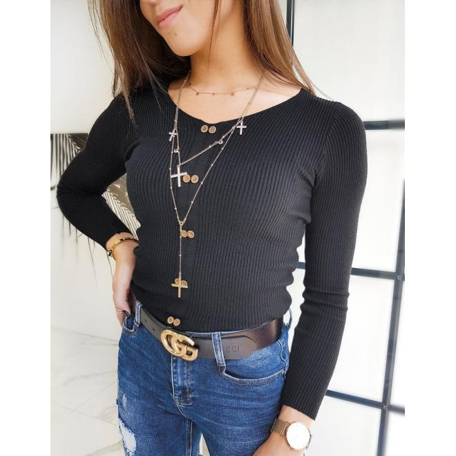 Dámské přiléhavé svetry s ozdobnými knoflíky v černé barvě