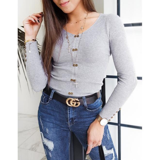 Světle šedý přiléhavý svetr s ozdobnými knoflíky pro dámy