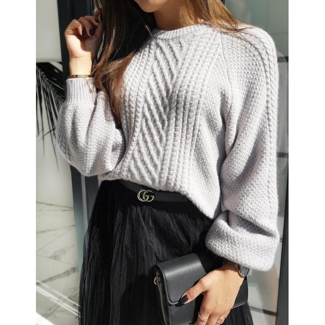 Módní dámský svetr světle šedé barvy s nafouklými rukávy