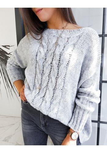 Dámský oversize svetr v světle šedé barvě