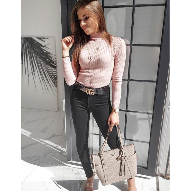 Klasický dámský polrolák růžové barvy