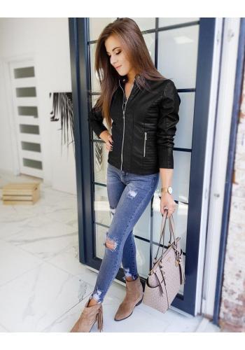 Dámská kožená bunda s prošíváním v černé barvě