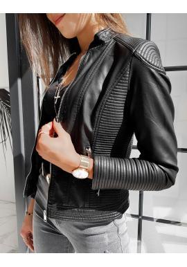 Černá klasická koženka s prošíváním pro dámy
