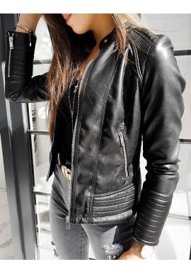 Dámská módní koženka s prošíváním v černé barvě