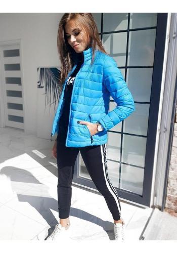 Dámská prošívaná bunda bez kapuce v světle modré barvě