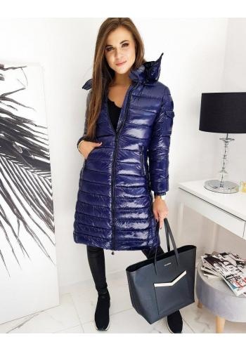 Dámská dlouhá prošívaná bunda s kapucí v tmavě modré barvě