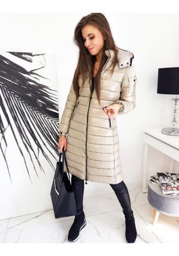 Béžová dlouhá prošívaná bunda s kapucí pro dámy