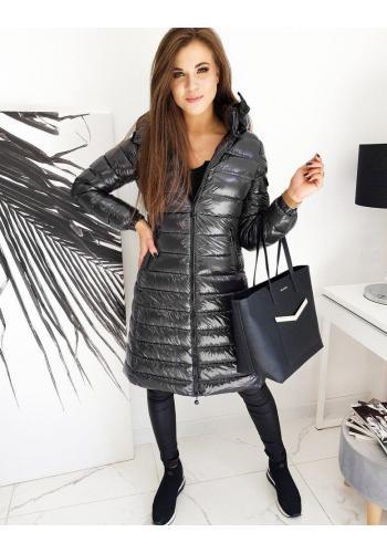 Dlouhá prošívaná bunda tmavě šedé barvy s kapucí