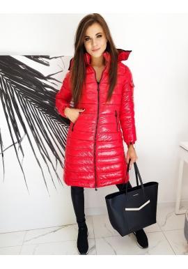Červená dlouhá prošívaná bunda s kapucí pro dámy