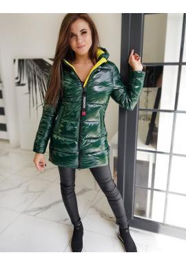 Dámská prošívaná bunda s kapucí v zelené barvě