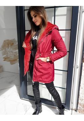 Dámská oboustranná bunda s kapucí v bordové barvě