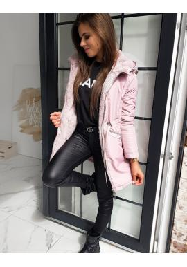 Růžová oboustranná bunda s kapucí pro dámy