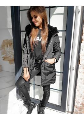 Oboustranná dámská bunda černé barvy s kapucí