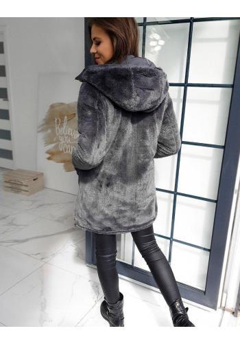 Tmavě šedá oboustranná bunda s kapucí pro dámy