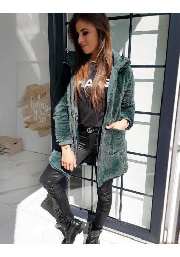 Oboustranná dámská bunda zelené barvy s kapucí