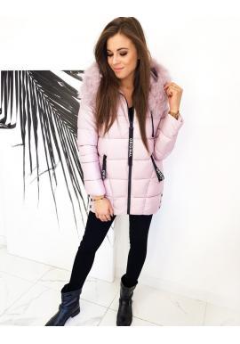 Růžová prošívaná bunda s kapucí pro dámy