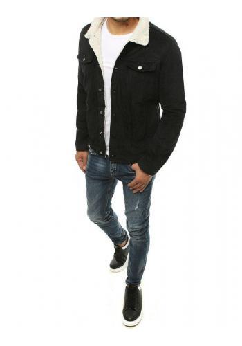 Pánská manšestrová bunda s kožešinou v černé barvě
