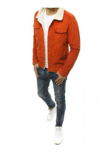 Manšestrová pánská bunda oranžové barvy s kožešinou