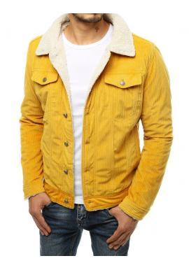 Žlutá manšestrová bunda s kožešinou pro pány