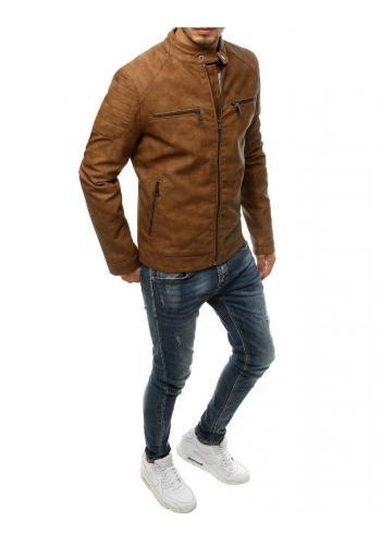 Hnědá kožená bunda s prošívanými prvky pro pány