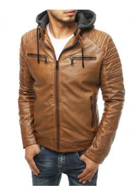 Pánská kožená bunda s odepínací kapucí v hnědé barvě