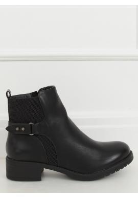 Dámské lícové boty se širokým podpatkem v černé barvě