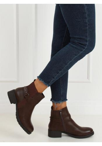 Lícové dámské boty hnědé barvy se širokým podpatkem