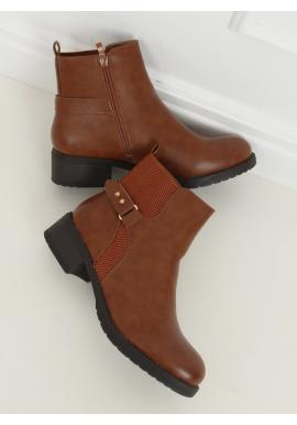 Hnědé lícové boty se širokým podpatkem pro dámy