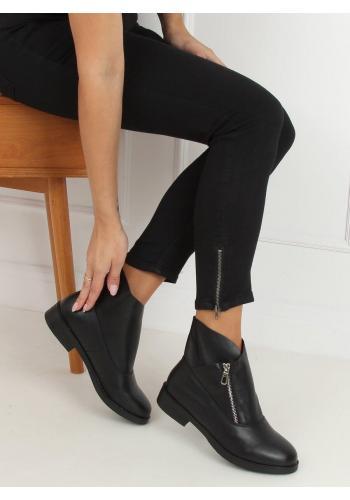 Dámské kotníkové boty se stříbrným zipem v černé barvě