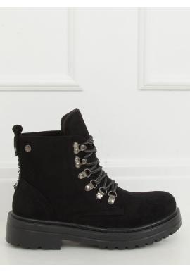 Semišové dámské boty černé barvy