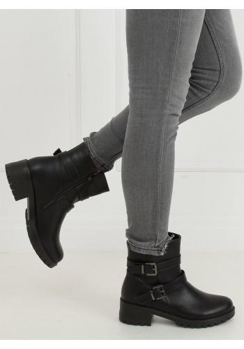 Černé lícové boty s přezkami pro dámy