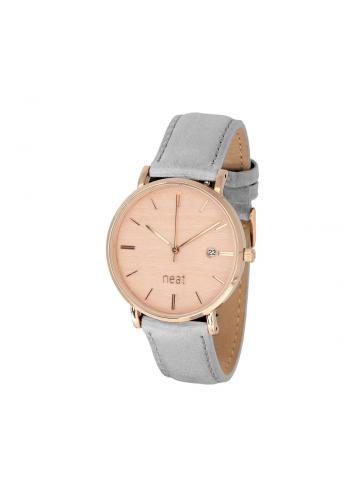 Módní dámské hodinky šedé barvy s koženým páskem