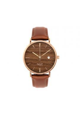 Dámské stylové hodinky s koženým páskem v hnědé barvě