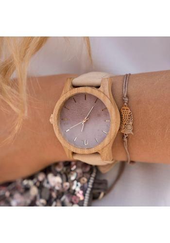 Béžovo-fialové dřevěné hodinky s koženým řemínkem pro dámy