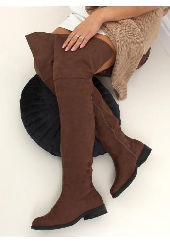 Hnědé semišové kozačky nad kolena pro dámy