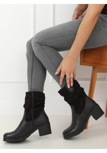 Dámské módní kozačky se širokým podpatkem v černé barvě