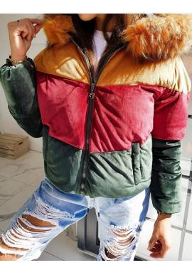 Dámská teplá bunda na zimu ve zlaté barvě