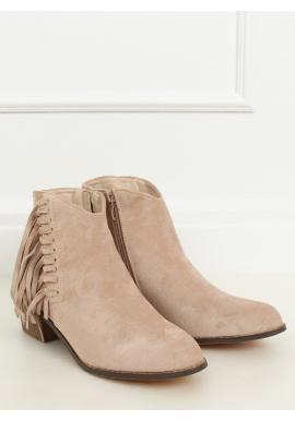 Dámské semišové boty s třásněmi v béžové barvě