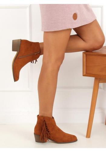 Semišové dámské boty hnědé barvy s třásněmi