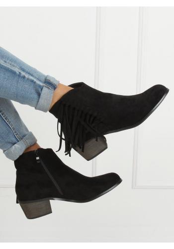 Černé semišové boty s třásněmi pro dámy