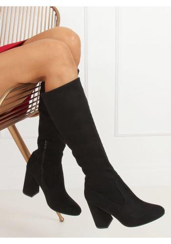 Černé přiléhavé kozačky se stabilním podpatkem pro dámy