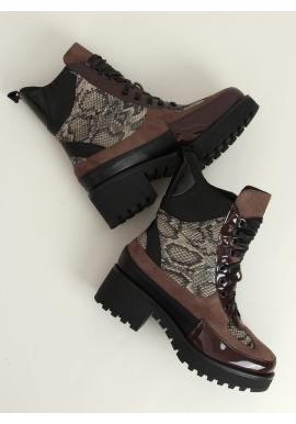 Stylové dámské boty hnědé barvy s motivem hadí kůže