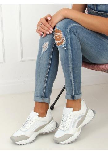Sportovní dámské tenisky bílo-šedé barvy na vysoké podrážce